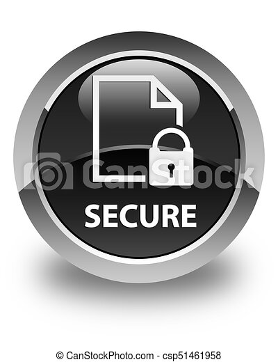 Secure (document page padlock icon) glossy black round button - csp51461958