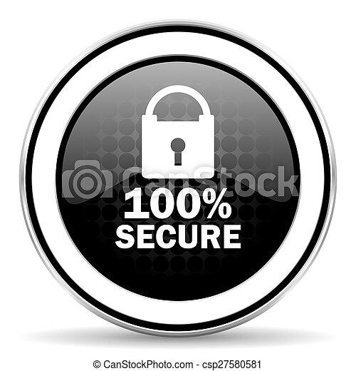 secure icon, black chrome button - csp27580581