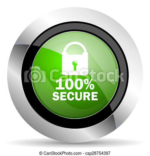 secure icon, green button - csp28754397