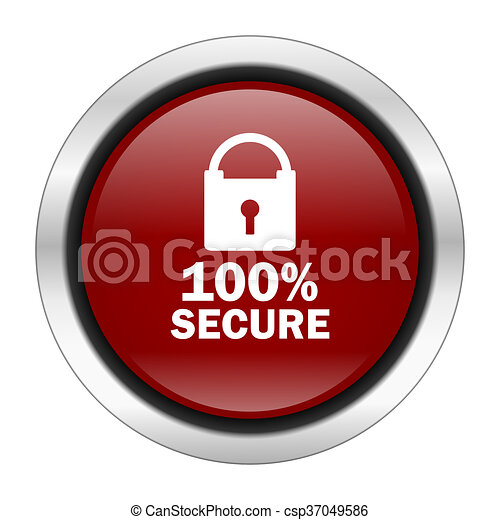 secure icon, red round button isolated on white background, web design illustration - csp37049586