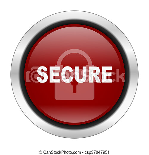 secure icon, red round button isolated on white background, web design illustration - csp37047951