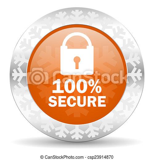 secure orange icon, christmas button - csp23914870