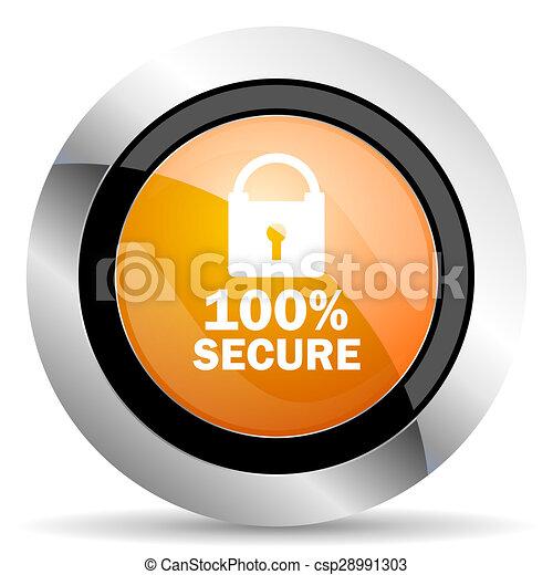 secure orange icon - csp28991303