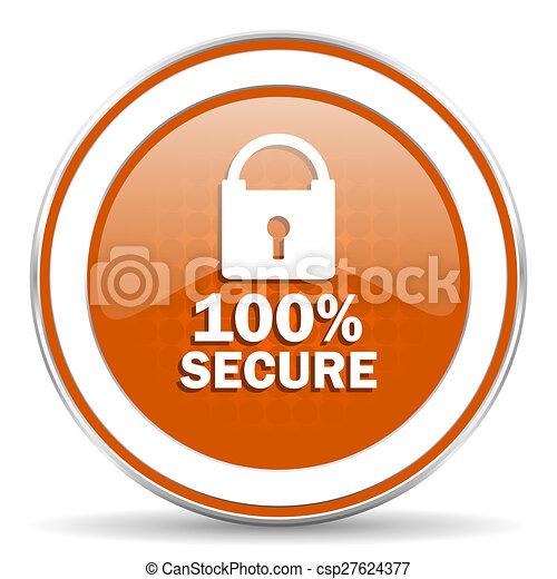 secure orange icon - csp27624377