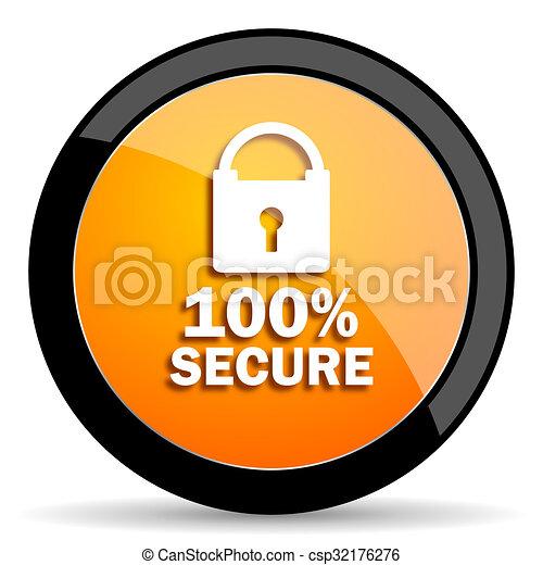 secure orange icon - csp32176276
