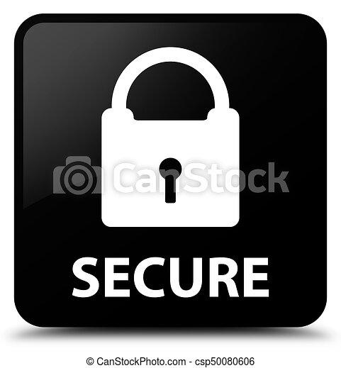 Secure (padlock icon) black square button - csp50080606