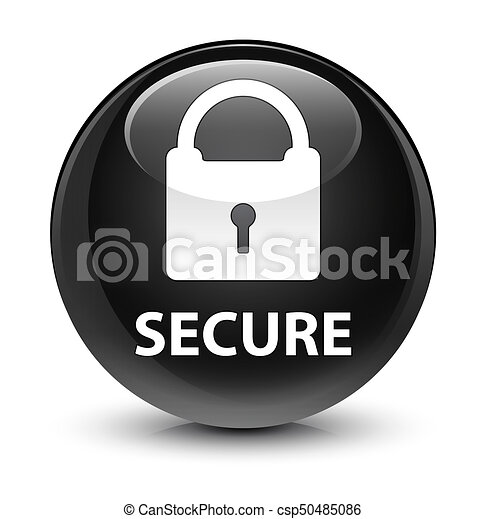 Secure (padlock icon) glassy black round button - csp50485086