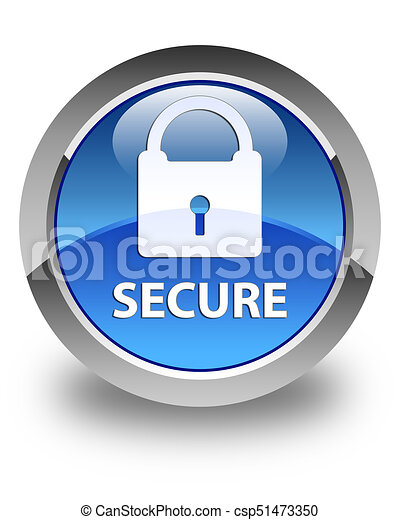 Secure (padlock icon) glossy blue round button - csp51473350