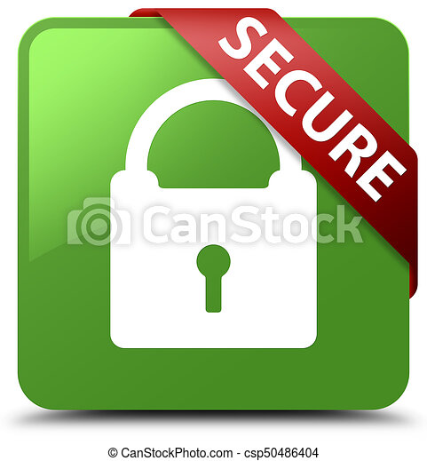 Secure (padlock icon) soft green square button red ribbon in corner - csp50486404