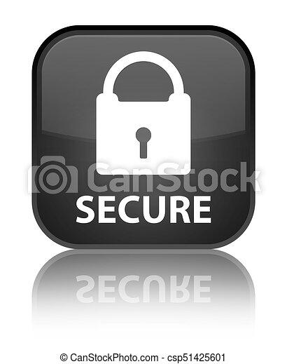 Secure (padlock icon) special black square button - csp51425601