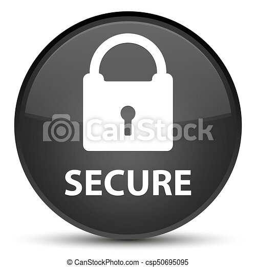 Secure (padlock icon) special black round button - csp50695095