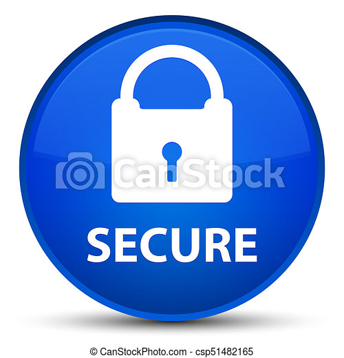 Secure (padlock icon) special blue round button - csp51482165