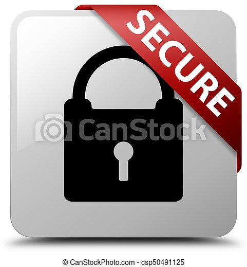 Secure (padlock icon) white square button red ribbon in corner - csp50491125