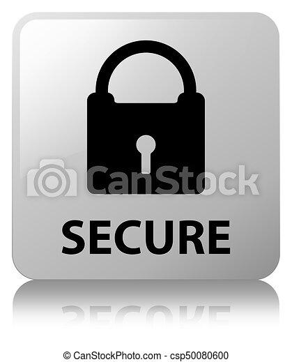Secure (padlock icon) white square button - csp50080600