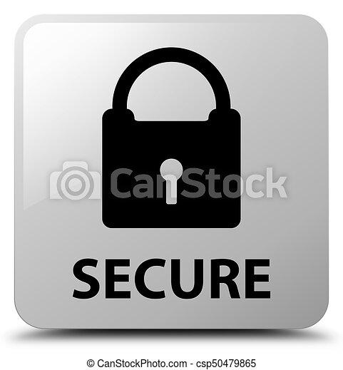 Secure (padlock icon) white square button - csp50479865