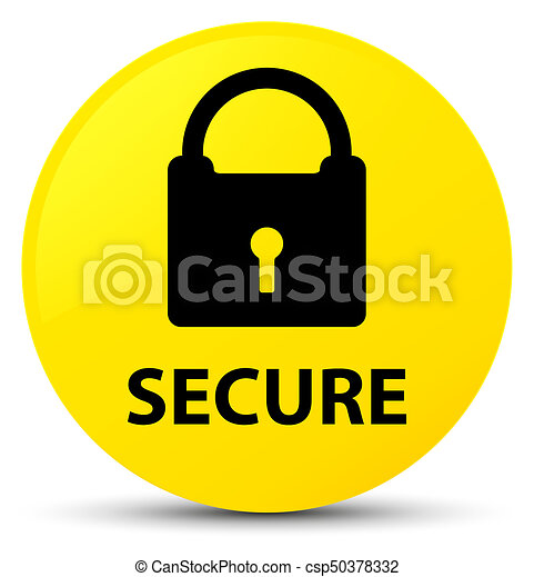 Secure (padlock icon) yellow round button - csp50378332