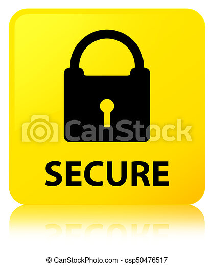 Secure (padlock icon) yellow square button - csp50476517