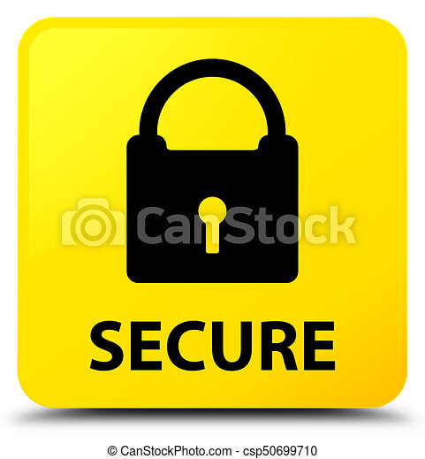 Secure (padlock icon) yellow square button - csp50699710