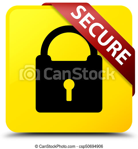 Secure (padlock icon) yellow square button red ribbon in corner - csp50694906