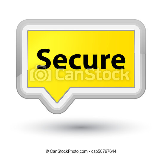 Secure prime yellow banner button - csp50767644