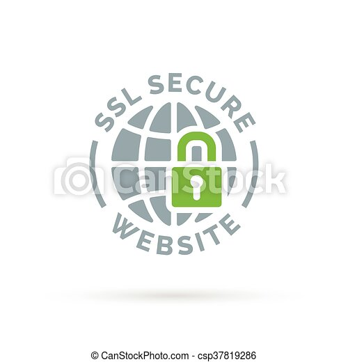 Secure Ssl Website Icon Grey Globe With Green Padlock Sign Secure