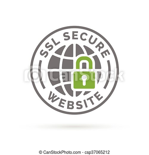 Secure Ssl Website Icon Grey Globe With Green Padlock Sign