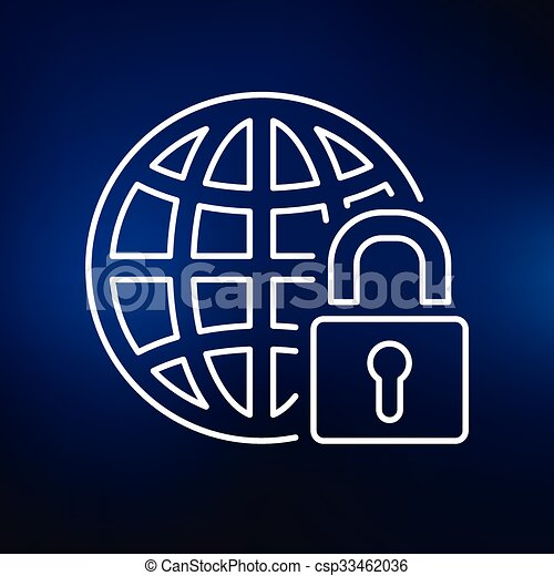 Secure web icon on blue background - csp33462036