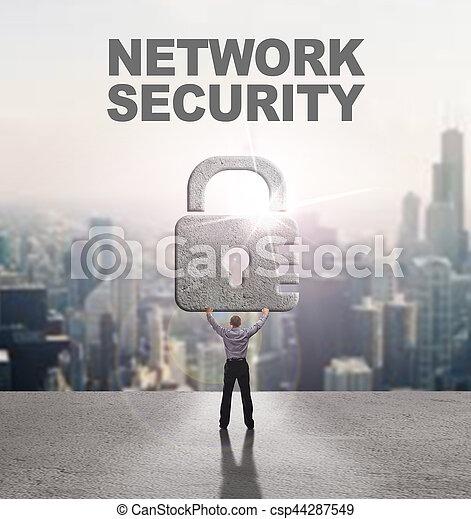 security:, affari, concept., giovane, cyber, rete, fornisce, internet, uomo sicurezza, tecnologia - csp44287549