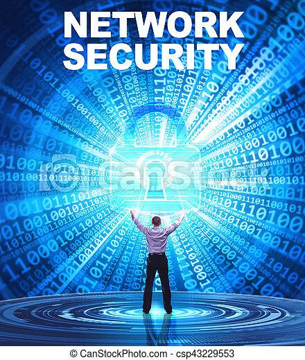 security:, affari, concept., giovane, cyber, rete, fornisce, internet, uomo sicurezza, tecnologia - csp43229553