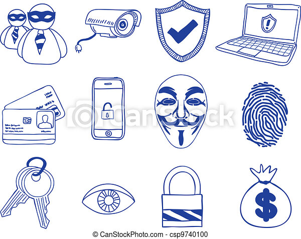 Security and hacking  - hand-drawn icons - csp9740100