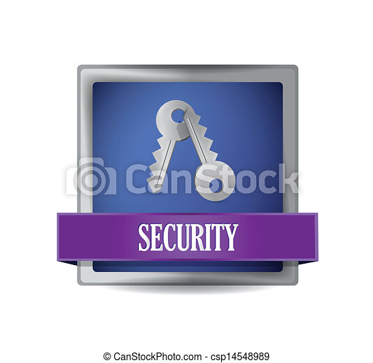 security blue square button illustration - csp14548989