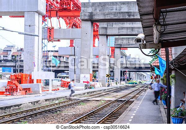 Security camera cctv monitoring railway station. - csp30516624