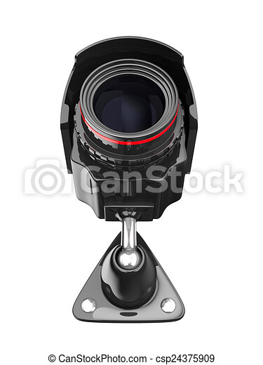 security camera on white background. Isolated 3D image - csp24375909