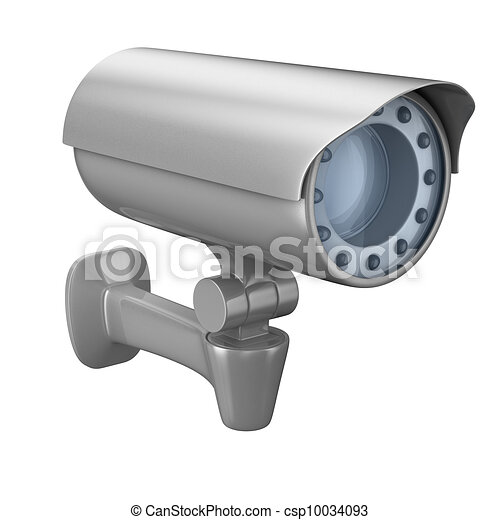 security camera on white background. Isolated 3D image - csp10034093