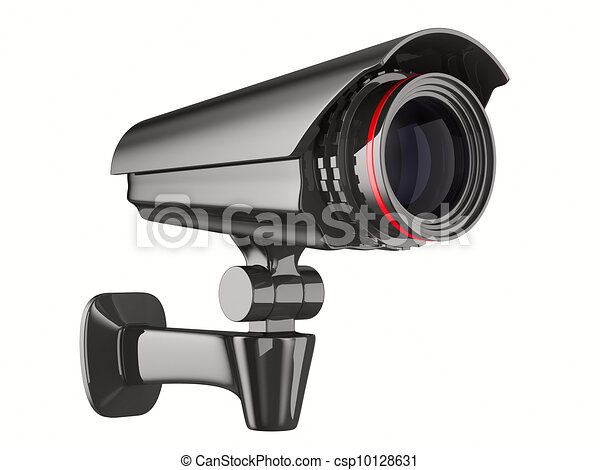 security camera on white background. Isolated 3D image - csp10128631