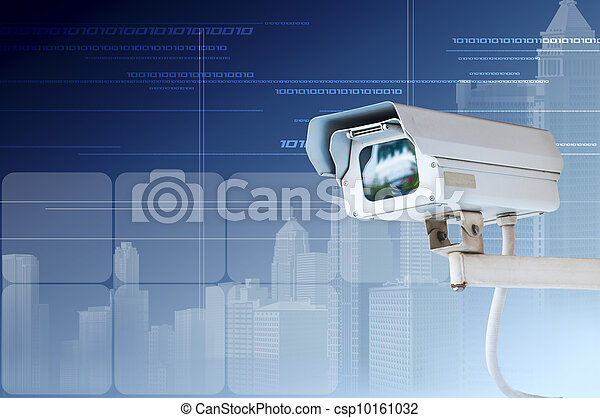 Security Camera or CCTV on digital background - csp10161032