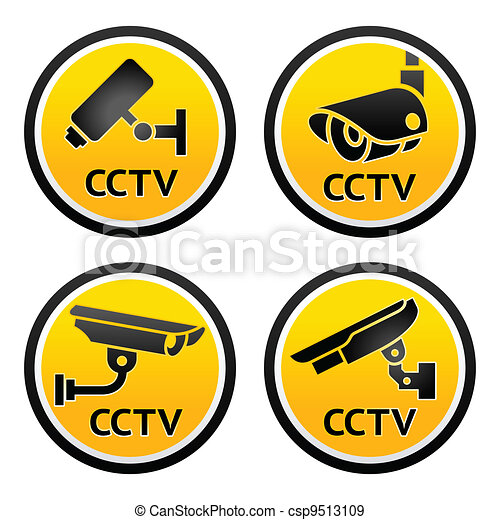 Security camera pictogram, set CCTV signs - csp9513109
