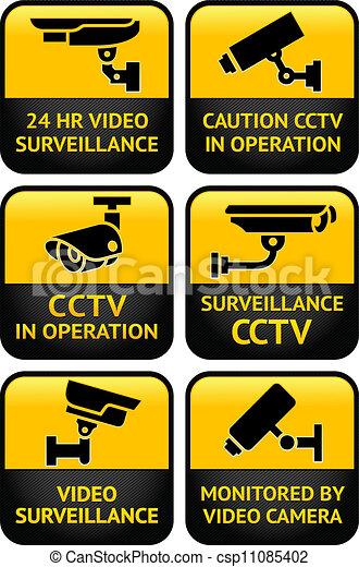 Security camera sign set - csp11085402