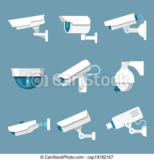 Security cameras icons set - csp19182167