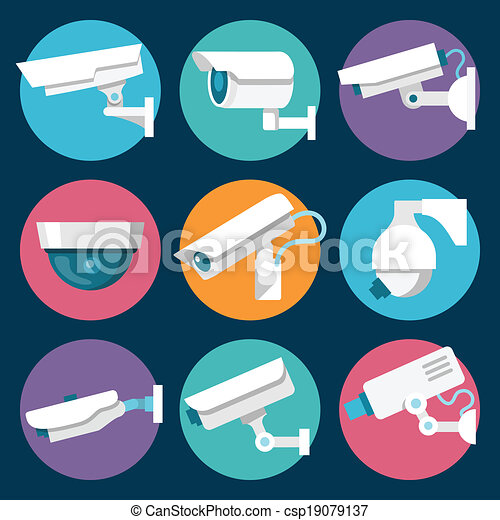 Security Cameras Icons Set - csp19079137