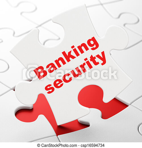 Security concept: Banking Security on puzzle background - csp16594734