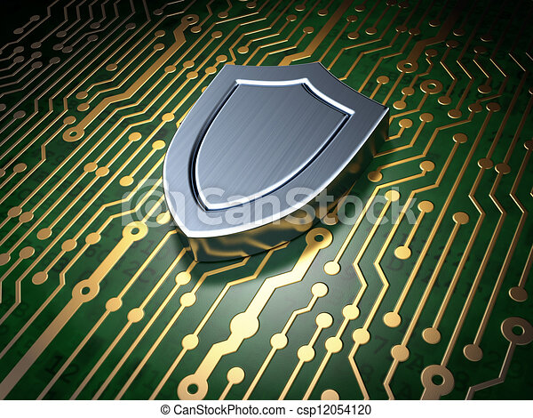 Security concept: circuit board with shield icon - csp12054120