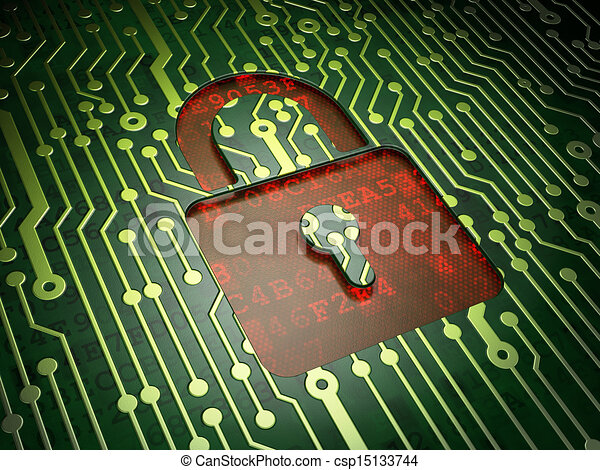 Security concept: Closed Padlock on circuit board background - csp15133744