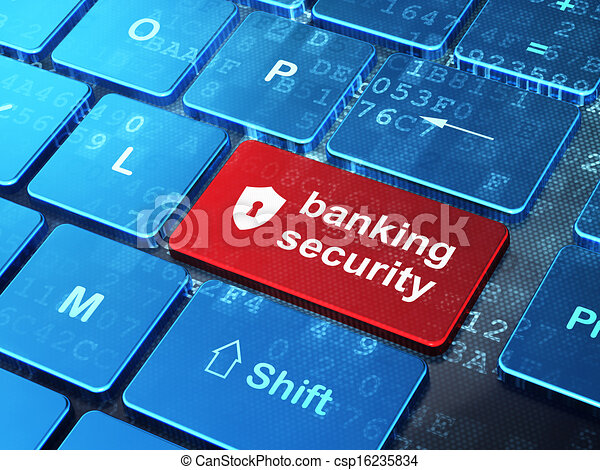 Security concept: computer keyboard with Shield With Keyhole icon and word Banking Security on enter button background, 3d render - csp16235834