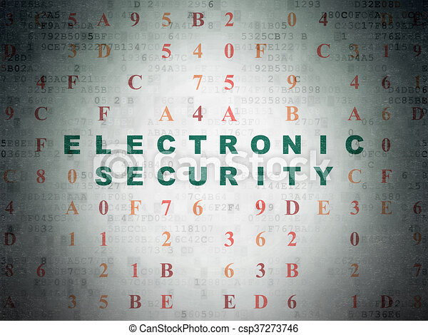 Security concept: Electronic Security on Digital Data Paper background - csp37273746
