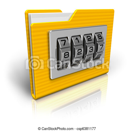 Security concept: file folder with combination lock - csp6381177