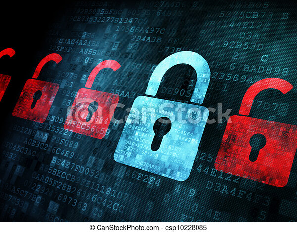 Security concept: Lock on digital screen - csp10228085