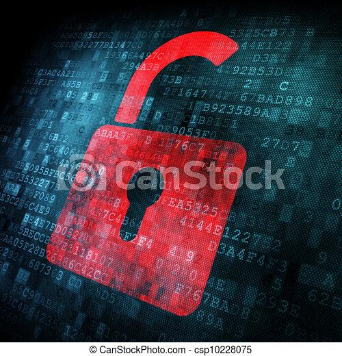 Security concept: Lock on digital screen - csp10228075