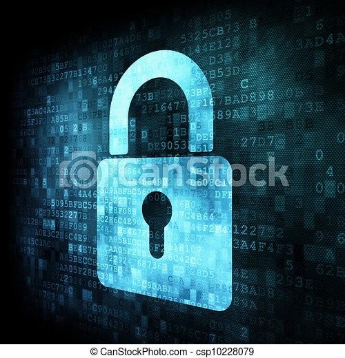 Security concept: Lock on digital screen - csp10228079