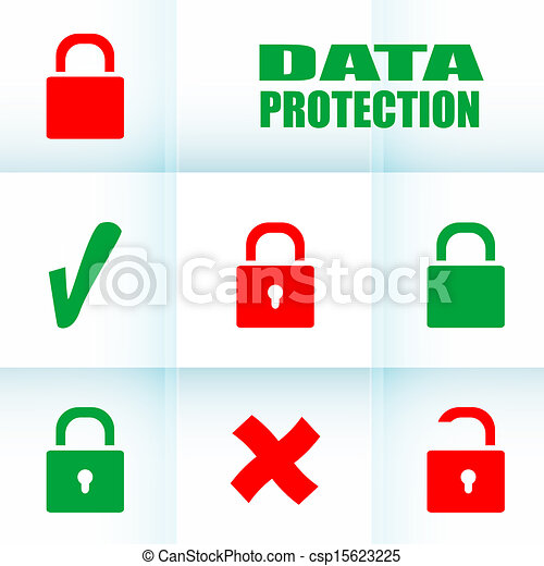 Security concept: Lock set on digital screen, data protection - csp15623225